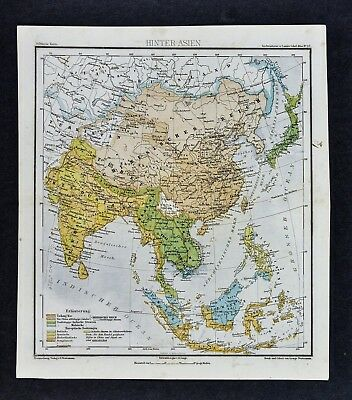 1875 Lange Map - Asia - China Chinese Empire Japan Hindustan India Nepal Tibet