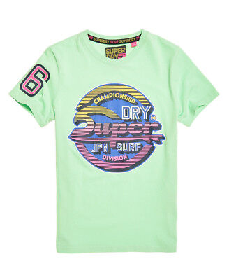 New Mens Superdry Sticker Tab Tee Bleached Ultra Mint