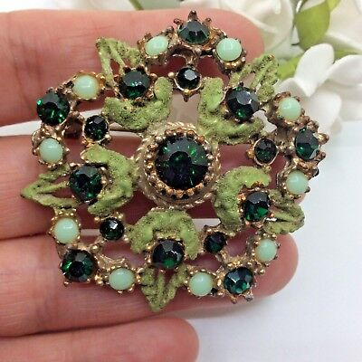 Vintage Jewellery Emerald Rhinestone & Seed Bead Gold Tone Flower Brooch Pin