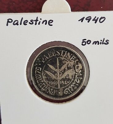 Palestine 50M Fifty Mils 1940 Silver Coin VF