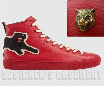 b42b3ece969 GUCCI 11.5G red leather PANTHER Angry Cat MAJOR high top Sneakers NIB Auth   730!