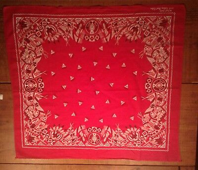 Vintage 1940's Bandana With Native American Indian Design Wpl 9939 Fast Color