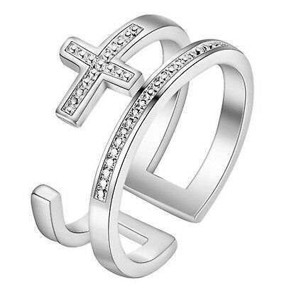 925 Stamped Sterling Silver Plt Adjustable Cross Double Band Ring UK R17