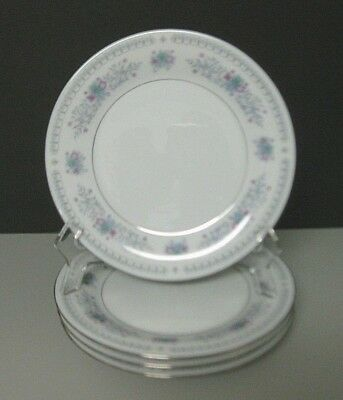Fine China Salad Luncheon Plates Pink and Blue Flowers Platinum Trim Set of 4