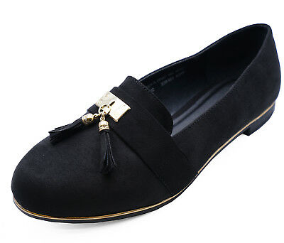 Ladies Black Wide-Fit Eee Flat Slip-On Loafers Comfy Work Shoes Pumps Sizes 4-9