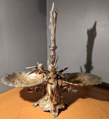 Rare Antique Ornamental Victorian Silver Plated Brass Epergne Centerpiece Angel