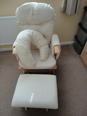 Reclining Glider nursing chair, stool and feeding pillow in cream and light wood