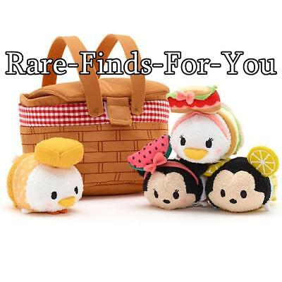 Disney Parks Tsum Picnic Basket Mickey Minnie Mouse Donald Daisy Duck Plush Set