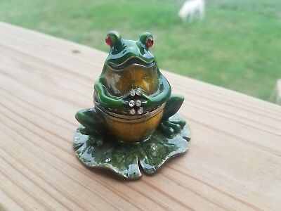 Bejeweled Frog on lillypad Trinket box