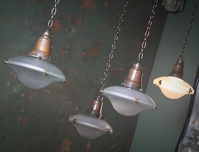 Run of 4 Small Holophane Flying Saucer Lanterns Lighting Industrial Salvage
