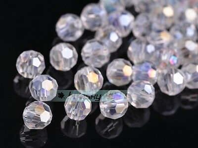 50pcs 8mm Round Ball Faceted Crystal Glass Findings Loose Spacer Beads Clear AB