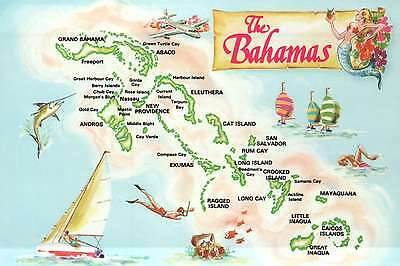 Map Postcard of The Bahamas, 700 Islands and Cays, New Providence, Nassau, etc.