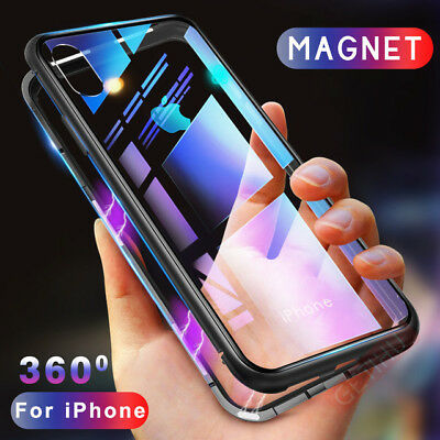 Magnetic Adsorption Metal Case Luxury Tempered Glass Cover For iPhone9 X 7 8 LOT