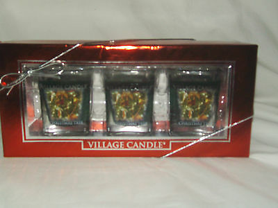 Gift Set 3 pack Filled Square Votive Village Candle CHRISTIMAS TREE scent