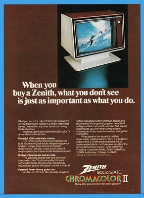 1974 Zenith Chromacolor II Modern Furniture Future Design Color Television TV Ad