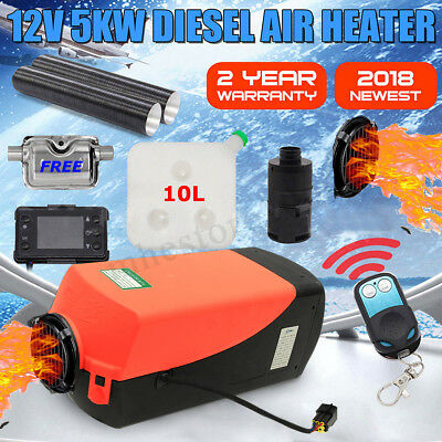 12V 5000W LCD Monitor Remote Air diesel Heater Silencer for trucks,boats,bus,Car