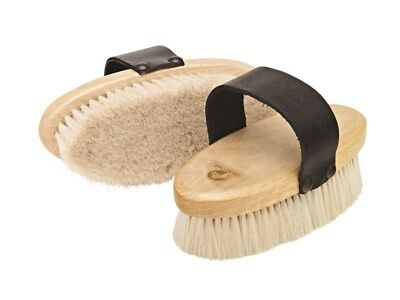 Cottage Craft Body Brush Soft Goat Hair Grooming Wooden With Leather Strap