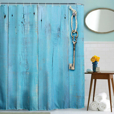 3D Wooden Door Rustic  Fabric Bathroom Shower Curtain 72*72inch with 12hooks