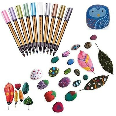10 Colors Metallic Markers Pen for Rock Painting,Marking Ink Marker Paint Pen