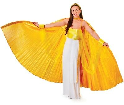 Ladies Extra Large Gold Cleopatra Angel Wings Fancy Dress Costume Outfit Cape