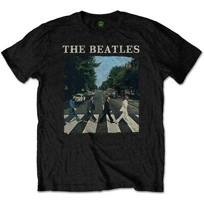 XXL Black Men's The Beatles Abbey Road & Logo T-shirt - Official New Tshirt Sgt