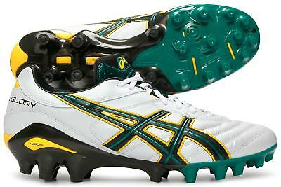 Asics Lethal Glory White Black Springbok Green Rugby Boots Size UK 9, 10