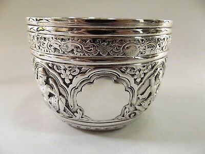 Stunning Late Victorian Silver Bowl With Embossed Figures London 1890 Ref 75/4