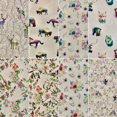 Cotton Rich Linen Look Fabric Digital Upholstery Bumble Bee Rabbit Stag Peacock