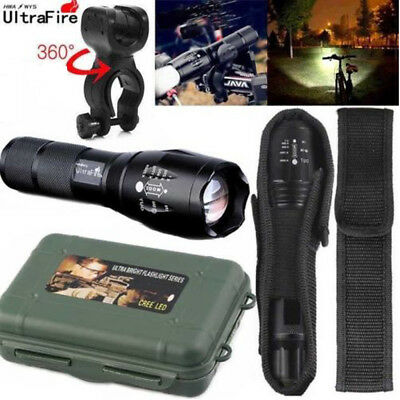 Ultrafire Flashlight 50000LM T6 LED Light Zoom Tactical 18650 +Torch Holder