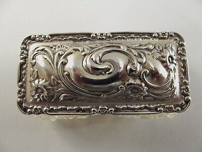 Antique Dressing Table Box With Silver Lid Birmingham 1916 Ref 366/2