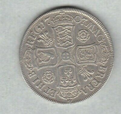 1707 Anne Silver Half Crown In Good Fine Or Better Condition