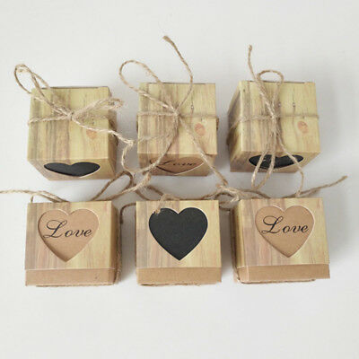 50PCS Kraft Paper Square Chocolate Candy Gift Boxes Wedding Party Favor Box