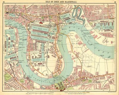 LONDON E. Isle of Dogs Poplar Greenwich Surrey Docks Deptford 1921 old map