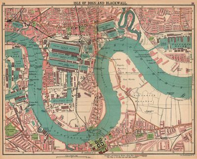 LONDON E. Isle of Dogs Blackwall Greenwich Poplar Surrey Docks 1913 old map