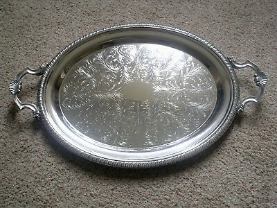 VINTAGE LARGE 20.5 inch ENGLISH CAVALIER SILVER PLATED  OVAL TRAY WITH HANDLES