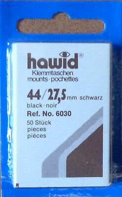 HAWID STAMP MOUNTS BLACK Pack of 50 Individual 44mm x 27.5mm - Ref. No. 6030