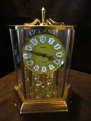 "VINTAGE BRASS KUNDO QUARTZ ANNIVERSARY CLOCK WEST GERMANY etched glass 10"" T"