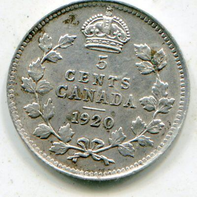 Canada 5 Cents silver 1920  lotsep2631