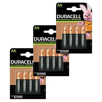 12x Duracell AA 2500mAh Duralock PRE & STAY CHARGED Ni-Mh Rechargeable Batteries