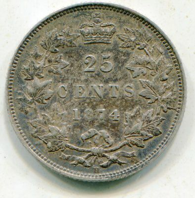 Canada 25 Cents 1874-H nice HG coin   lotsep4533