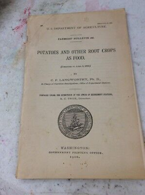 US DEPARTMENT OF AGRICULTURE FARMERS BULLETIN Potatoes And Other Root Crops 1907