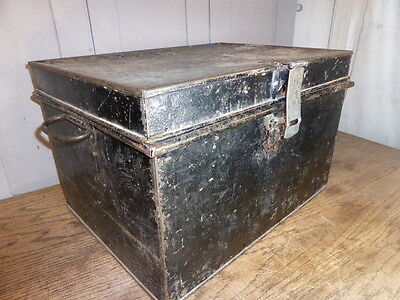 Antique industrial style steel deed box
