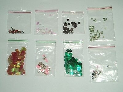 SEQUINS & BEADS ASSORTED COLOURS x 8 PACKETS OF NEW & USED JOB LOT