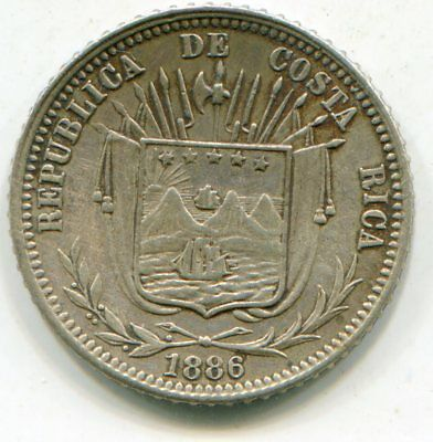 Cost Rica 10 Centavos 1886 KM-126 nice coin quite scarce  lotsep4165