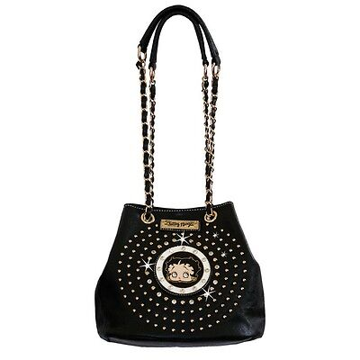 Betty Boop Cinch-Top Rhinestone Bag by Sharon Purse Handbag Black KF-4008