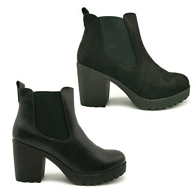 b98dd65d5582c WOMENS ZIP CLEATED Sole Block Heel Ankle Boots Shoes - $14.96   PicClick