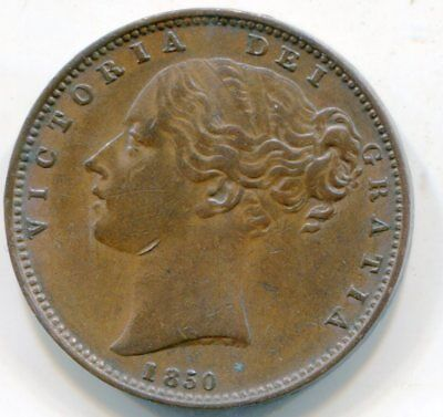 UK Farthing 1850 pretty high grade coin with mint luster  lotsept4542