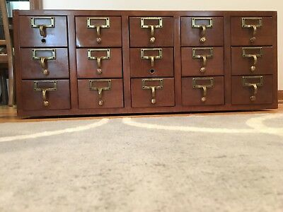 Vintage 15 Drawer Library Card Catalog Index File Cabinet Wood