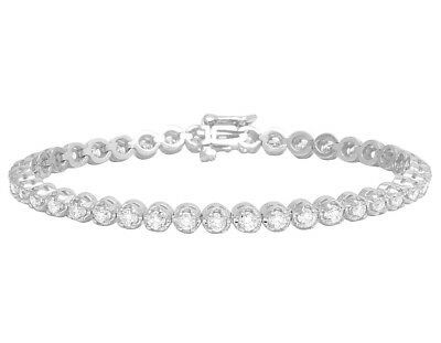 Bridal & Wedding Party Jewelry Ladies .925 Sterling Silver 1 Row Prong White Diamond Tennis Bracelet .50ct Fine Jewelry