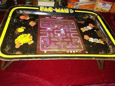 PAC-MAN 1980s Vintage Metal Lap TV Tray With Legs Black